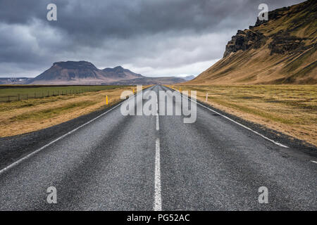 Empty asphalt roar in Iceland - Stock Photo