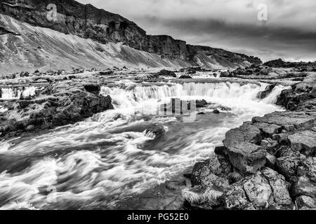 Waterfalls near the Pjodvegur road in the Southern Region of Iceland