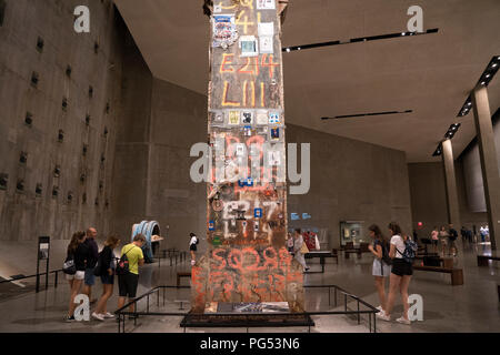 A 36-foot-tall column now in a museum, was the last to be removed from Ground Zero after the World Trade Center was destroyed on September 11, 2001. - Stock Photo