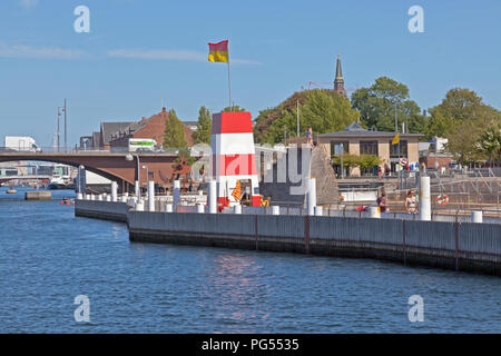 The Copenhagen Harbour Bath at Islands Brygge in the inner harbour of Copenhagen on a warm and  sunny summer day seen from the main harbour canal. - Stock Photo