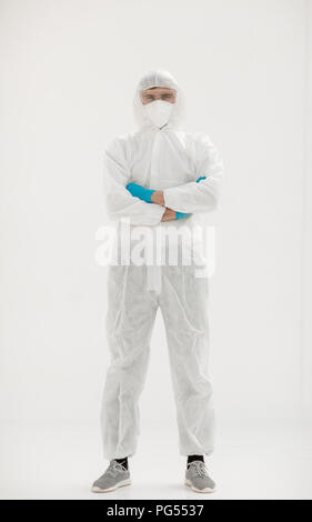 background image of a modern scientist in a protective suit - Stock Photo