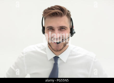 portrait of call center employee with headset - Stock Photo