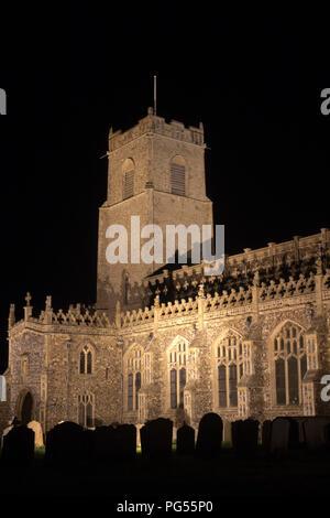 Holy Trinity Church, Blythburgh, Suffolk, England, floodlit at night - Stock Photo
