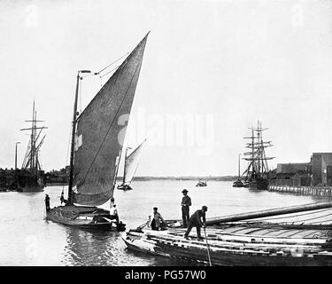 Wherries leaving for the Broads, Norwich, Victorian period - Stock Photo