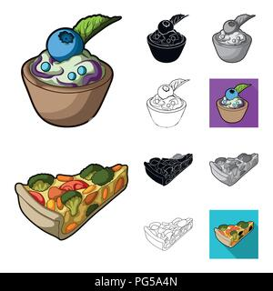 Vegetarian dish cartoon,black,flat,monochrome,outline icons in set collection for design.Vegetable and milk food vector symbol stock  illustration. - Stock Photo