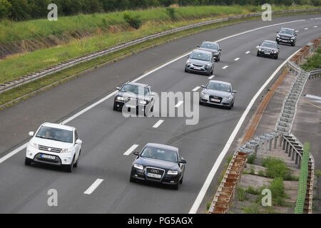 Zagreb, Croatia - August 11th, 2018 : Traffic on the Zagreb highway bypass in Zagreb, Croatia. - Stock Photo