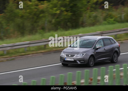 Zagreb, Croatia - August 11th, 2018 : Close up of speeding car on the Zagreb motor way bypass in Zagreb, Croatia. - Stock Photo