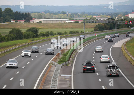 Traffic on the Zagreb highway bypass in Zagreb, Croatia. - Stock Photo