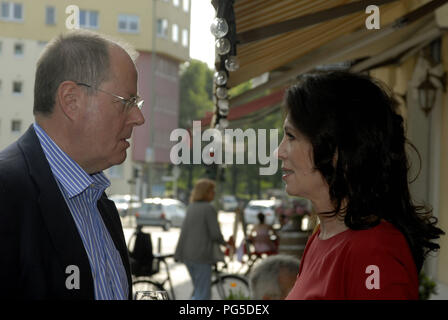 Berlin, DEU, 07.07.2011: Celebration for Peer Steinbrueck (left), politician and chancellor candidate (SPD) and bestseller-author with Iris Berben (red dress), actor (Germany) - Stock Photo