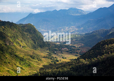 View down the valley towards Sapa from the road leading to the Tram Ton Pass - Stock Photo
