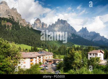 The Pale of San Martino group view from San Martino di Castrozza. Summer in the Dolomites. Italy - Stock Photo