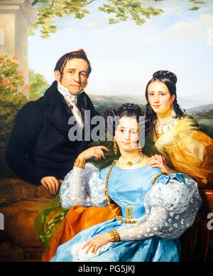 Portrait of Theodore Joseph Jonet and his two daughters (1832) by Francois Joseph Navez (1787-1869) - Stock Photo