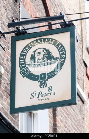 Pub sign for The Jerusalem Tavern and St Peter's Brewery in Clerkenwell - Stock Photo