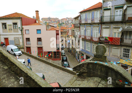 PORTO, PORTUGAL - JUNE 21, 2018: beautiful typical view of Porto City with colorful buildings in the old town, Portugal - Stock Photo