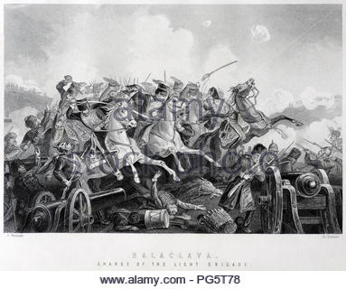The Charge of the Light Brigade was a charge of British light cavalry led by Lord Cardigan against Russian forces during the Battle of Balaclava on 25th October 1854 in the Crimean War. Illustration from 1890. - Stock Photo