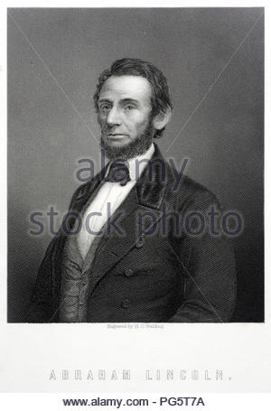 Abraham Lincoln portrait, February 12, 1809 – April 15, 1865, was an American statesman and lawyer who served as the 16th President of the United States from March 1861 until his assassination in April 1865. Lincoln led the United States through the American Civil War. Antique illustration from 1890. - Stock Photo