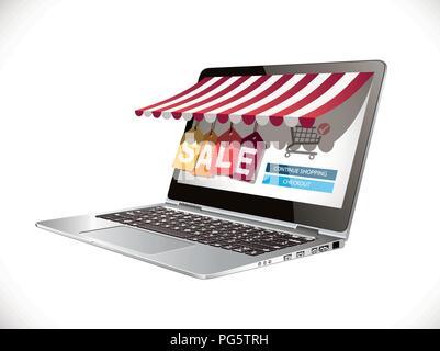 Laptop as marketplace - computer e-commerece concept - big sale - Stock Photo