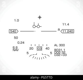HUD display - jet fighter flight nawigation system - Stock Photo