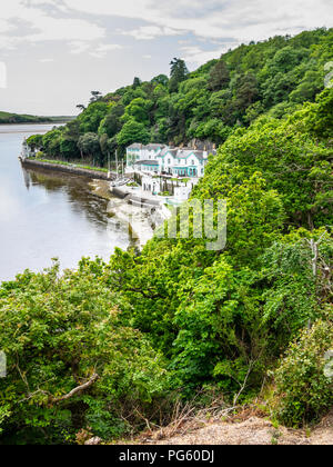 Portmeirion Hotel nestled on the Dwyryd River, at Portmeirion, created by Clough Williams-Ellis, Gwynedd, North Wales, UK. - Stock Photo