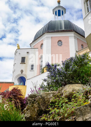 Grotto and cliff at Portmeirion,, created by Clough William-Ellis, Gwynedd, North Wales, UK. - Stock Photo