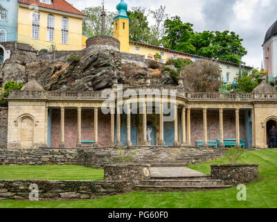 Portmeirion Italianate style village, created by Clough Williams-Ellis, Gwynedd, North Wales, UK. - Stock Photo