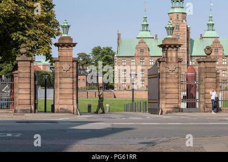 Entrance to the Royal Danish Life Guard's Rosenborg Barracks, Gothersgade, Copenhagen, Denmark - Stock Photo