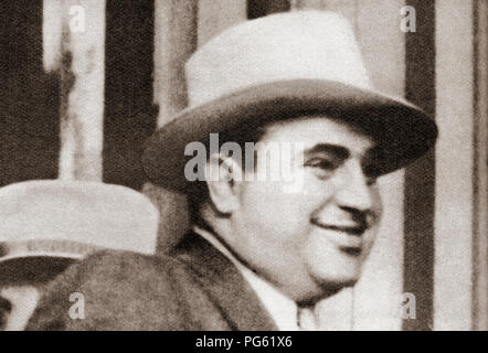 Alphonse Gabriel Capone, 1899 – 1947, sometimes known by the nickname 'Scarface'. American gangster and businessman.  From These Tremendous Years, published 1938. - Stock Photo
