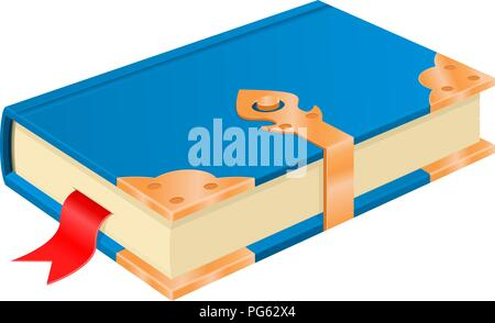 Blue book with golden corners and safe lock. Vintage design - Stock Photo