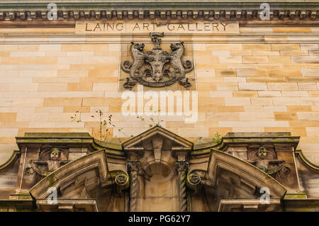 The portico to the Laing Art Gallery in Newcastle, England, UK - Stock Photo