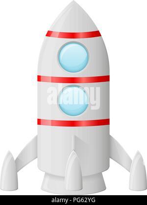 Rocket. Colored cartoon drawing - Stock Photo