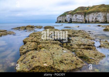 Thornwick Bay on the North Yorkshire Coast, England UK - Stock Photo