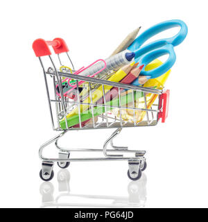 Shopping carts with school supplies isolated on a white, back to school concept. - Stock Photo