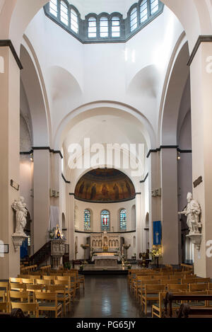 Interior of the Neo-Romanesque Church of St Remacle / Eglise Notre-Dame et Saint Remacle de Spa in the city Spa, Liège, Belgium - Stock Photo