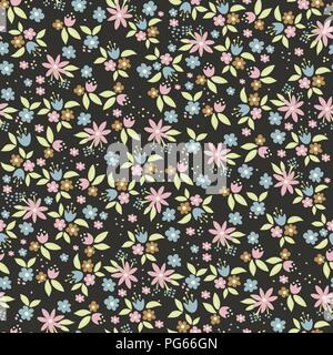 Cute little flowers vector seamless pattern doodle abstract background cartoon hand drawn texture - Stock Photo