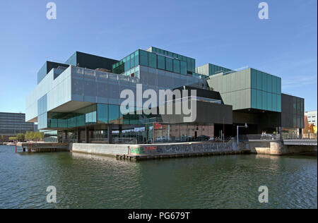 The BLOX building, a new prestige building for architecture and design etc.at the waterfront on Christians Brygge in Copenhagen at Frederiksholm Canal - Stock Photo