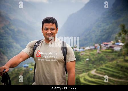 Mountaineer guide in Landruk. Annapurna trek. Nepal - Stock Photo