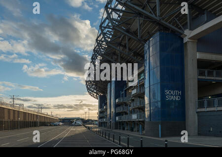Murrayfield stadium is the home of the Scotland national rugby team in west Edinburgh, Scotland, UK - Stock Photo