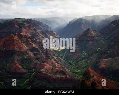 USA, Hawaii, Kauai, Waimea Canyon scenic, aerial view - Stock Photo