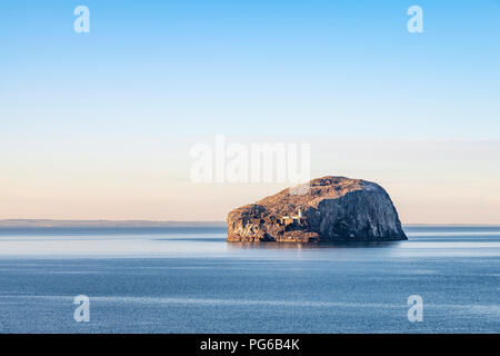 UK, Scotland, East Lothian, North Berwick, Firth of Forth, view of Bass Rock (world famous Gannet Colony) at sunset, Lighthouse, - Stock Photo