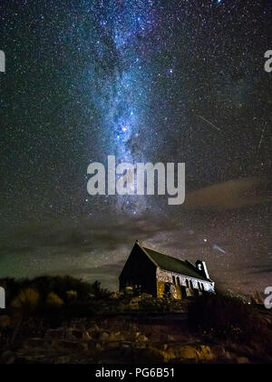 New Zealand, South Island, Canterbury Region, Church of the Good Shepherd at night - Stock Photo
