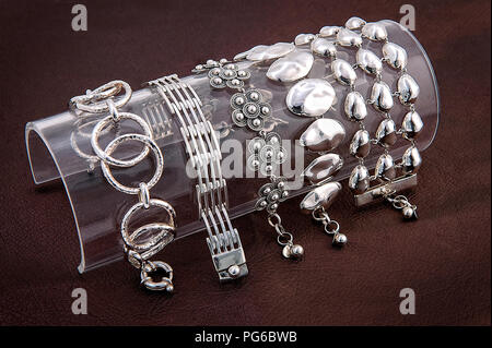 Bracelet for women. Stainless steel. Silver set. - Stock Photo