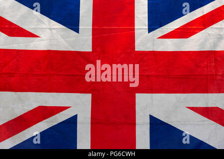 Sunlit flag of Great Britain, commonly known as the Union Jack or Union Flag. Patriotic theme - Stock Photo