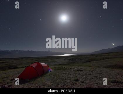 Moonscape over Lake Zorkul, Tajikistan - Stock Photo