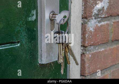 Forgotten Keys In A Door At Amsterdam The Netherlands 2018 - Stock Photo