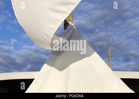 A White awning for sun protection - Stock Photo