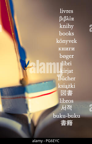 The word 'books' written in different languages at background picture with toy sailboat between the wavy pages of open book - Stock Photo