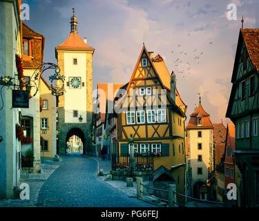 DE - BAVARIA: Ploenlein Gate at historic Rothenburg-ob-der-Tauber - Stock Photo
