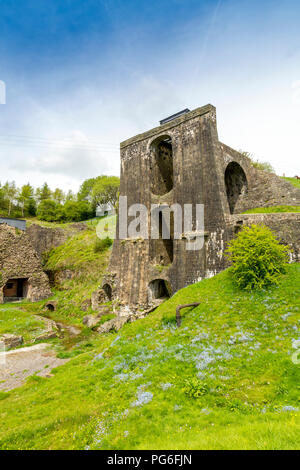 The massive water balance tower and blast furnaces at Blaenavon Ironworks, now a museum and UNESCO World Heritage Site in Blaenavon, Gwent, Wales, UK - Stock Photo
