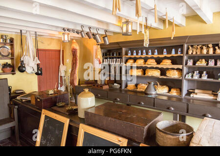 Interior of the preserved worker's shop at Blaenavon Ironworks now a museum and UNESCO World Heritage Site in Blaenavon, Gwent, Wales, UK - Stock Photo