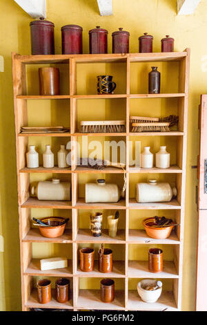 Household items for sale in the preserved worker's shop at Blaenavon Ironworks now a museum and UNESCO World Heritage Site in Gwent, Wales, UK - Stock Photo